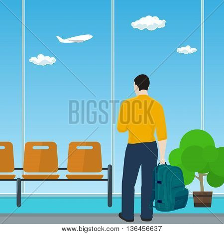 Man with a Backpack Looking out the Window in a Waiting Room, Waiting Hall with Guy in Airport, Travel and Tourism Concept, Flat Design, Vector Illustration