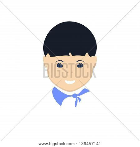 Asian Boy, Face Boy Isolated on White Background, Vector Illustration