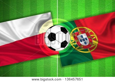 green Soccer / Football field with stripes and flags of poland - portugal and ball - 3d illustration