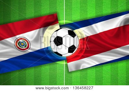 green Soccer / Football field with stripes and flags of paraguay - costa rica and ball - 3d illustration