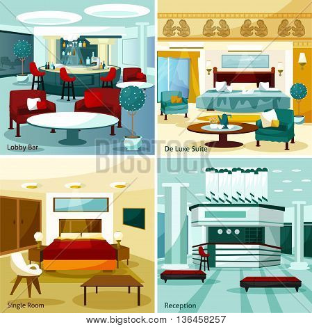 Colorful modern hotel interior lobby bar de luxe suite single room and reception 2x2 design concept cartoon vector illustration