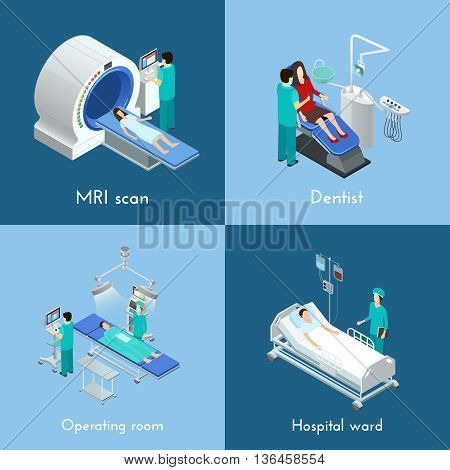 Medical equipment 4 isometric icons square composition with mri scan and hospital operation table abstract isolated vector illustration