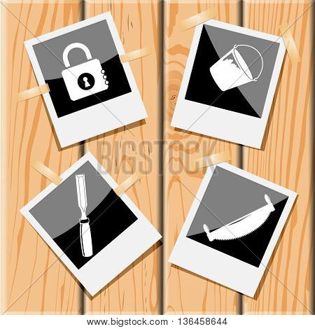 4 images: closed lock, bucket, two-handled saw, chisel. Industrial tools set. Photo frames on wooden desk. Vector icons.