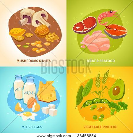 Protein rich food concept 4 flat icons square banner with dairy products meet poultry abstract isolated vector illustration