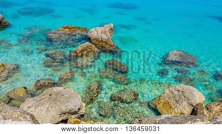 Crystal clear waters in Lefkas island, Greece