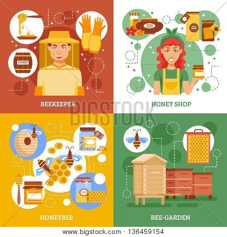 Four beekeeping design icon set with descriptions of beekeepers work honey shop honey bee and bee-garden vector illustration