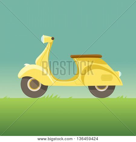 Vector creative flat design scooter icon. Classic looking yellow cartoon moped, isolated.
