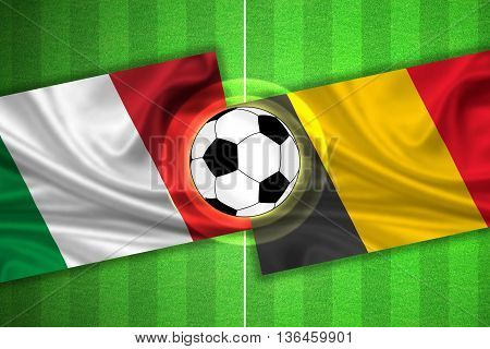 green Soccer / Football field with stripes and flags of italy - belgium and ball - 3d illustration