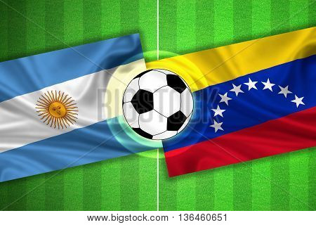 green Soccer / Football field with stripes and flags of argentina - venezuela and ball - 3d illustration