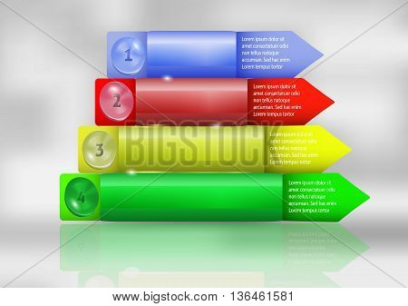 Modern infographics step by step template for webdesign. Four colorful 3d objects with buttons and arrows