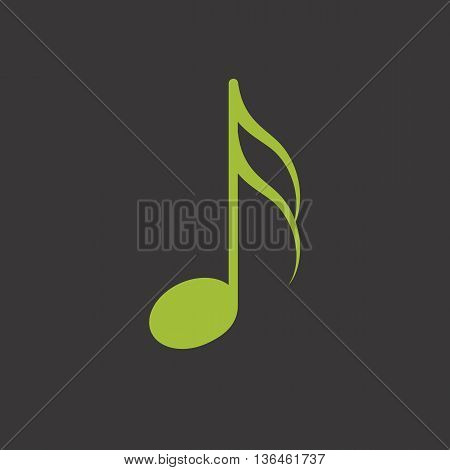 Green isolated music sixteenth note vector icon