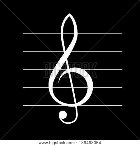 White treble clef vector icon with staff, music symbol
