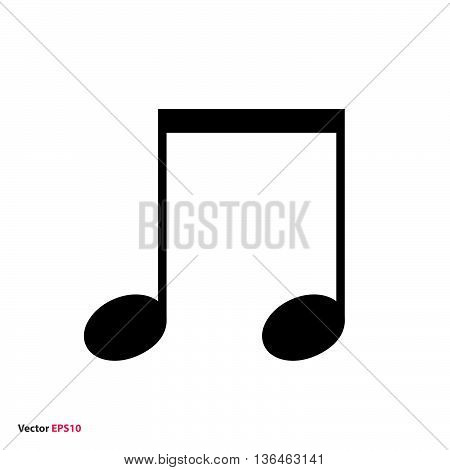 Music beamed note vector icon black on white background