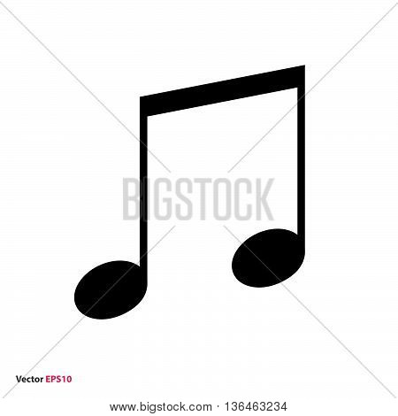 Black music beamed note vector icon on white background