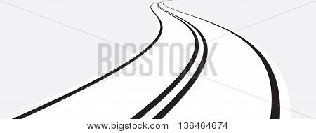 Vector illustration of curved road on gray background