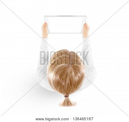 Woman hold tablet pc mockup in hand, top view isolated. White mobile ebook mock up holding in female hands from above. Blank white ipad tablet screen monitor. Clear horizontal display booklet person.