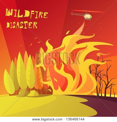 Color cartoon illustration wildfire disaster depicting burning forest vector illustration