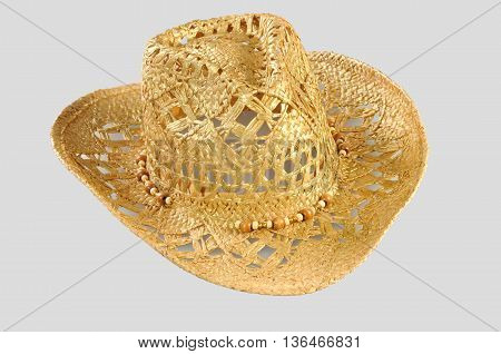 Stetson straw hat of cowboy isolated on grey background