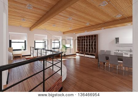 3D Interior Rendering Of A Tiny Loft