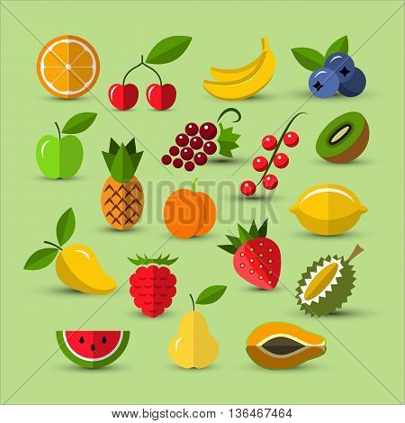 Flat icons collection. Set of different fruits and berries icons. Berry icon. Fruits icons. Flat style icons. Vector design elements for web and mobile