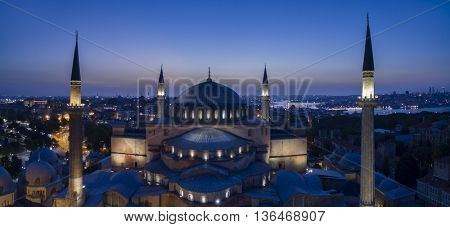 Aerial view of Hagia Sophia Cathedral/ Museum/ Mosque in Istanbul Turkey
