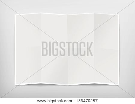 Blank chart design mockup isolated clipping path 3d illustration. Folded map template mock up display. Clear draft plan paper sheet front view. Pattern diagram clear booklet. Clean map mockup.
