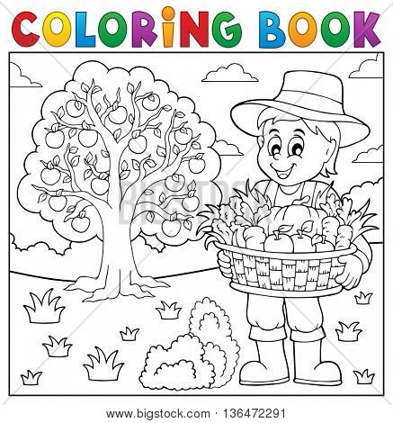 Coloring book farmer with harvest 3 - eps10 vector illustration.
