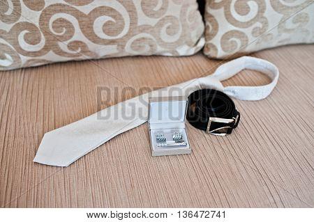 Set Of Groom. Cuff Links, Tie And Belt