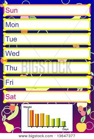 Weekly timetable for diet