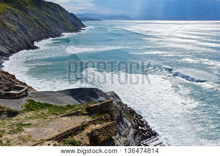 Summer Ocean Coastline View In Barrika Town (spain).