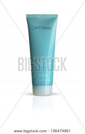 CHISINAU MOLDOVA - June 26 2016: Oriflame. Optimals Aqua Refresh Face Mask. Plastic tube Cosmetic for face care. Isolated on a white background. With clipping path.