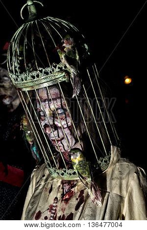 Bologna, Italy - May 21, 2016: Zombies at the Bologna Zombie Walk. People dressed as zombies during the parade through the streets of the center of Bologna
