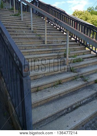 Stairs And Concrete Structure Of Old Strahov Stadion In Prague