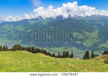 Bird view of the Zillertal valley village surrounded by mountains during summer in Tyrol, Austria, Europe