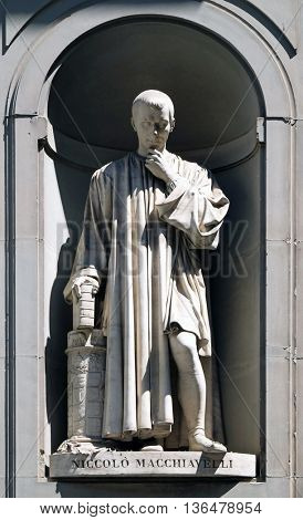 FLORENCE, ITALY - JUNE 05: Niccolo Machiavelli in the Niches of the Uffizi Colonnade. The first half of the 19th Century they were occupied by 28 statues of famous people in Florence, on June 05, 2015