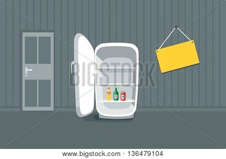 Opened empty broken fridge vector illustration in cartoon style. Broken fridge standing in front of the wall in the room. Sign board hanging on the wall near the fridge with drink bottle beverages inside.