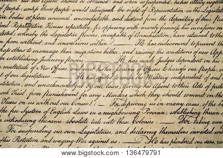 Declaration Of Independence 4Th July 1776 Close Up
