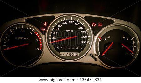 Modern car illuminated dashboard closeup. Car, Dashboard,