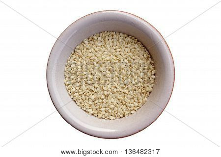 Vanilla color flax seeds which is the richest source of omega-3 fatty acids isolated on white.