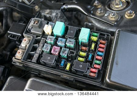 Detail of a car engine bay with fuses