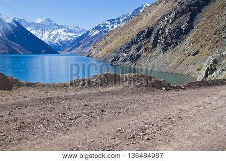 Embalse el Yeso reservoir in San Jose del Maipo Chile