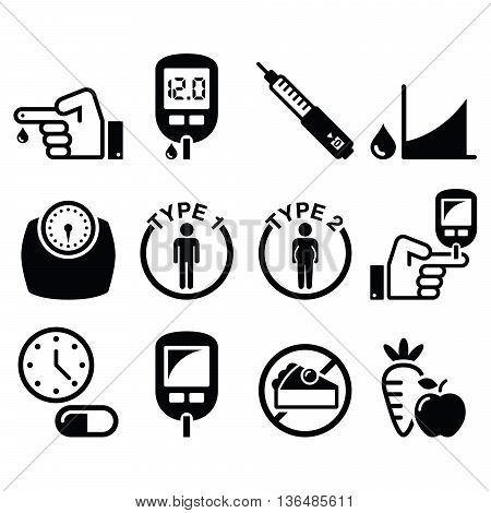 Diabetes disease, health concept vector icons set