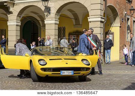 Sant'Agata Bolognese, Italy - April 30, 2016: Fabio Lamborghini together with the Mayor of Sant'Agata Bolognese , Giuseppe Vicinelli , during the parade for the 100th anniversary Ferruccio Lamborghini