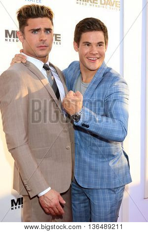 LOS ANGELES - JUN 29:  Zac Efron, Adam DeVine at the Mike And Dave Need Wedding Dates Premiere at the Cinerama Dome at ArcLight Hollywood on June 29, 2016 in Los Angeles, CA