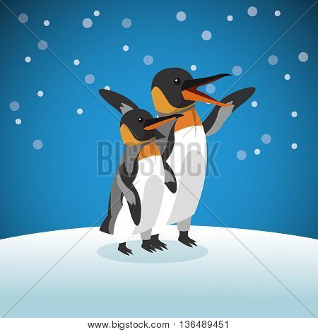 Animal concept represented by Pinguin cartoon over snowing background. Colorfull Illustration