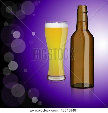 Bottle of beer, glass of beer.Entertainment, drinks. Design for bars