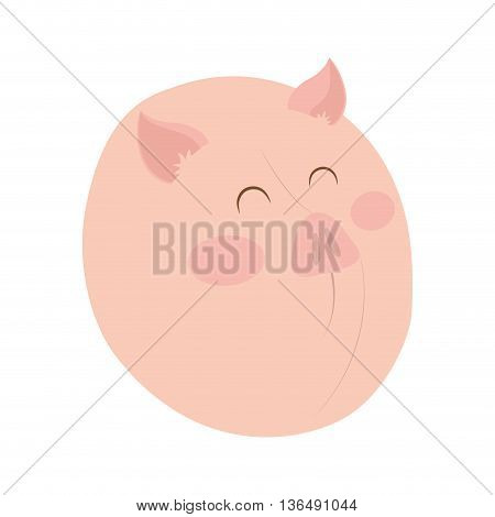 Farm animal concept represented by pig cartoon icon. isolated and flat illustration