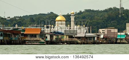 Brunei's Famed water village Kampong Ayer in Bandar Seri Begawan, Brunei on Villages are fully self sufficient with their own water, shops.