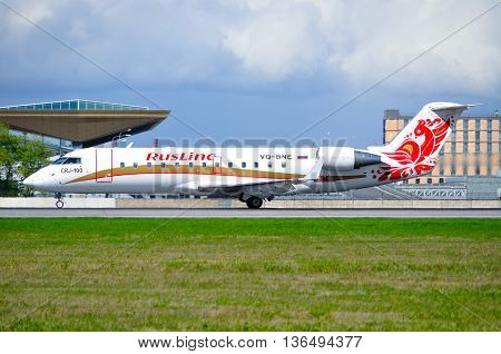 SAINT PETERSBURG RUSSIA - MAY 11 2016. VQ-BNE Rusline Airline Canadair Regional Jet CRJ-100ER airplane after landing in Pulkovo airport.