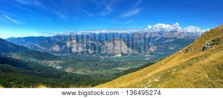 The Trento valley from Mount Bondone, in the province of Trento